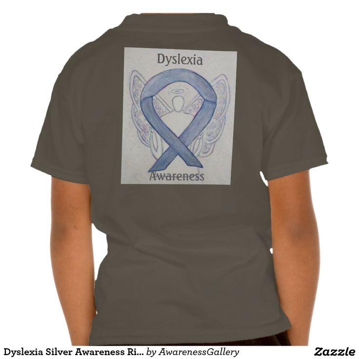 Dyslexia Awareness Silvers: Dyslexia Silver Awareness Ribbon Angel Custom Tee