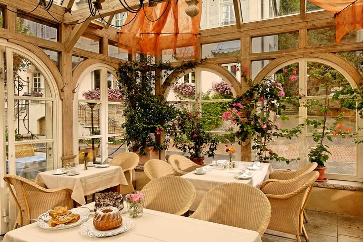 A gorgeous conservatory for outdoor dining inside at the heavenly Zum Baren hotel in #Germany #flawless