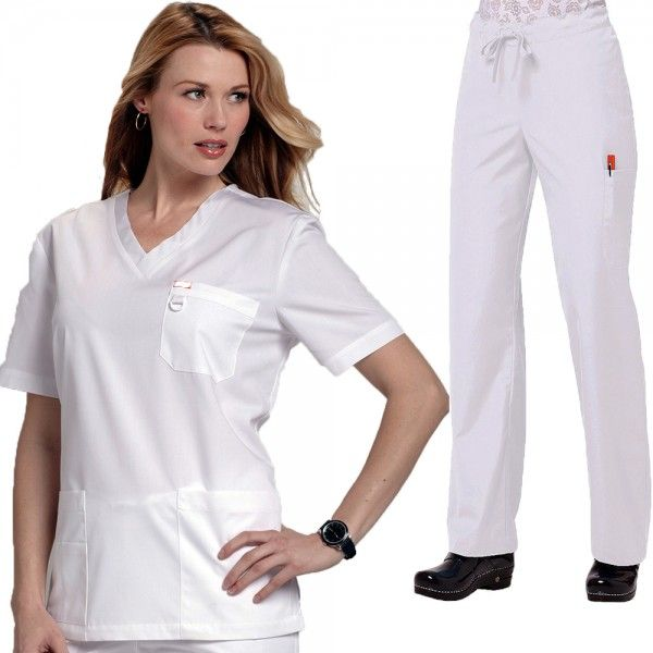 Orange Standard Unisex Set in White. The Orange Standard Unisex Scrub Set is a combination of our unisex Balboa scrub top and the Huntington scrub trousers. This scrub set or scrub suit is perfect if you need to kit our your hospital department or practice in the same uniforms for both men and women. £33.99  #medicalscrubs #nursescrubs #dentistscrubs #nurses #dentists #whitescrubs #nurseuniform
