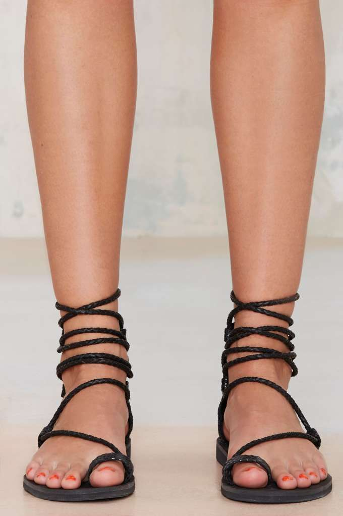Jeffrey Campbell Adios Lace-Up Leather Sandal - Shoes | Flats | Jeffrey Campbell