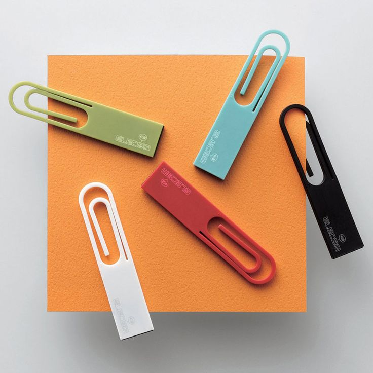 japanese studio nendo has designed the 'data clip' a USB key in the shape of a paperclip for elecom.