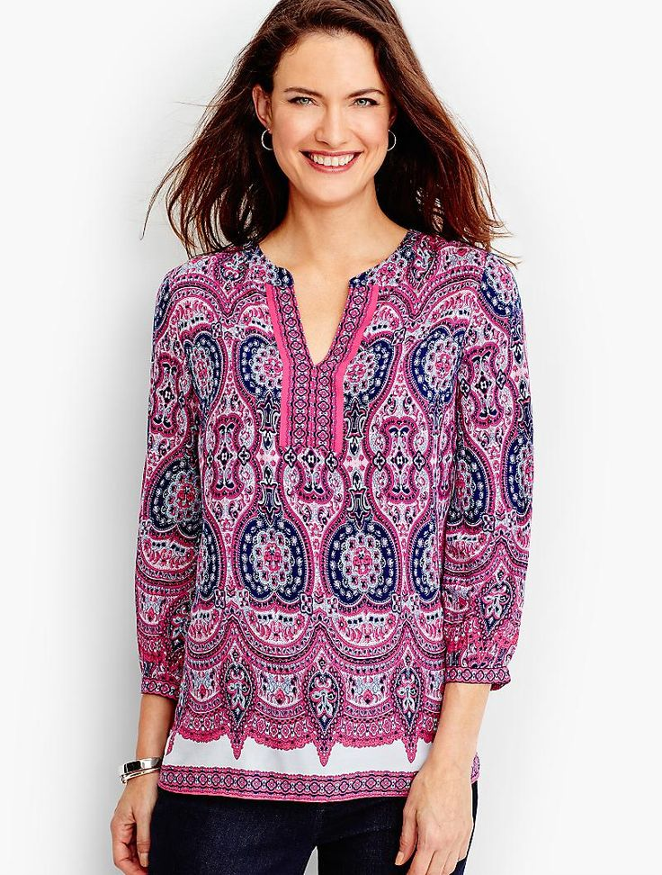 A breezy popover gets an artful update with a medallion paisley border print in a beautiful mix of soft and dark color shades.