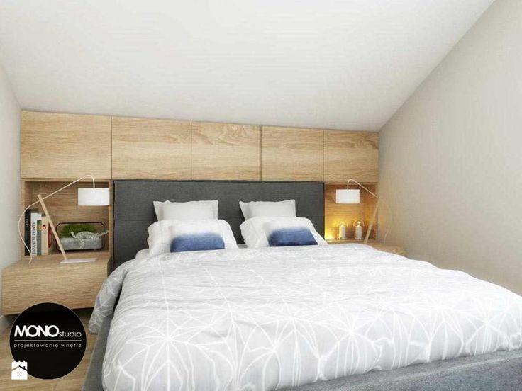 przestrzeń & faktura - Mała sypialnia małżeńska na poddaszu - zdjęcie od MONOstudio