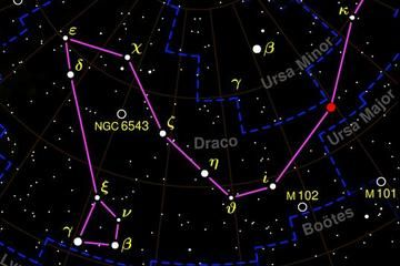 """The eighth-largest constellation, Draco, the """"dragon,"""" doesn't appear especially prominent."""