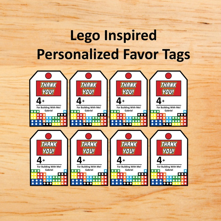 lego party Thank you tags