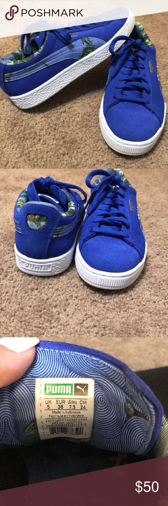 Blue Pumas Womens Blue Pumas Womens Size 7.5. Only been worn once. Perfect condition. Willing to negotiate on price!! Personally can't find these in store or online anymore Shoes Sneakers