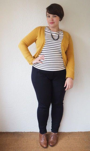 shirt neckline is too high for me. obviously i love mustard cardigan, stripes, jeans and oxfords. i think she diyed the necklace?? --  fibonacci  struggle?