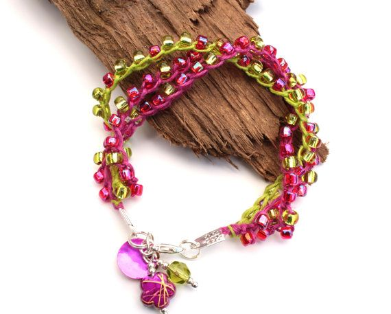 Pink Bracelet  Lime and Pink  Stacking Bracelet  by PinkBeading, £12.00