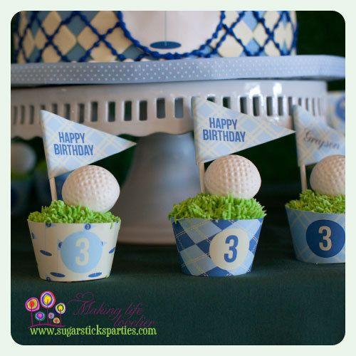 Golf birthday cupcake wrappers DIY printable by SugarsticksParties