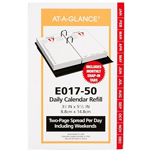 AT-A-GLANCE Daily Desk Calendar 2016 Refill, 12 Months, 3.5 x 6 Inch Page Size (E01750)