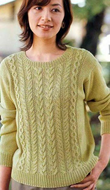 Светло-зеленый пуловер спицами: