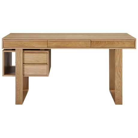 Keats Writing Desk with Cabinet  Oak Natural