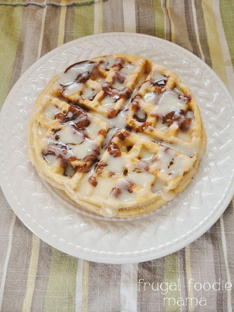 Cinnamon Roll Topping for Waffles & Pancakes from Frugal Foodie Mama- all of the deliciousness, none of the mess! (easy homemade cinnamon rolls french toast)