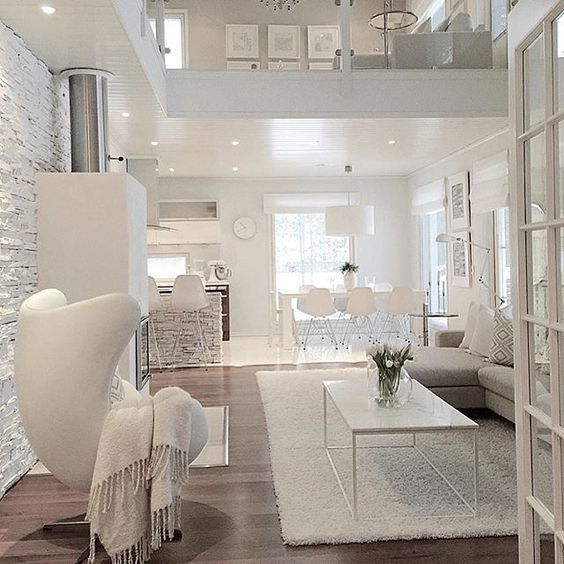 The Textures Makes This Seem Cosy And The All White Makes It Feel Peaceful. Living  Room ...