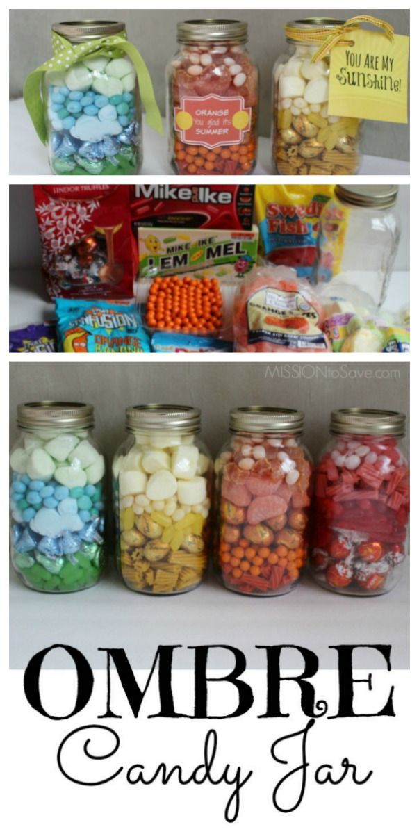 Make These Adorable Diy Ombre Candy Jar Gifts For A Teacher Thank You Friendship Or Just Because You Can Also Find Jar Gifts Mason Jar Gifts Mason Jar Candy