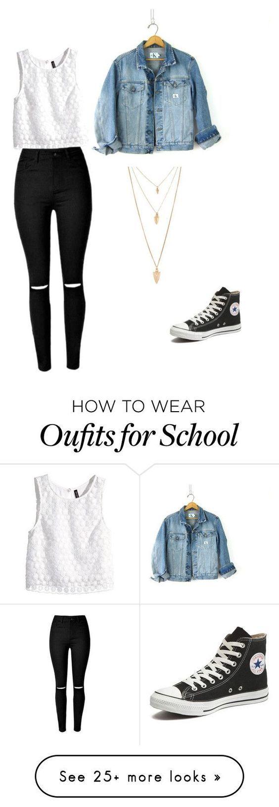 Outfit casual, jeans negros rotos, blusa blanca sin mangas, chamarra de mezclilla, converse negros de bota.