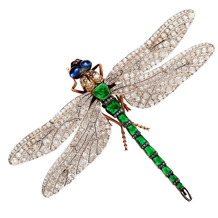 Rare French Diamond Emerald Dragonfly Pin Attributed to Fouquet, 1895 | From a unique collection of vintage brooches at http://www.1stdibs.com/jewelry/brooches/brooches/