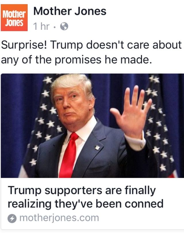 If this wasn't so Pathetic I'd be laughing. Millions were Dooped because he said everything they wanted to hear, everything they wanted to happen. Remember, Trump isn't a True Republican, he's just a Dirty Con Man who knows what to say and do to get what he wants...and he got the Racist Votes he wanted.
