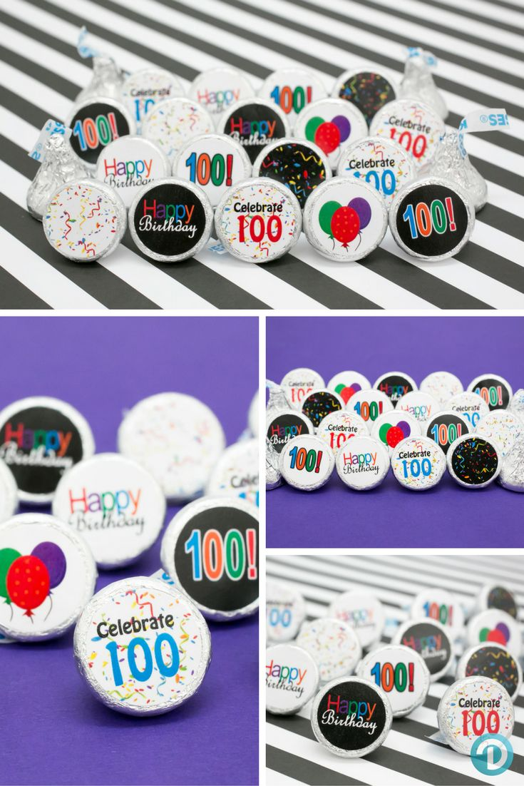 Having a 100th Birthday Party Celebration?  Looking for a unique and yummy party favor or table decoration everyone will love?  Make your own DIY Hershey Kisses with our Happy 100th Birthday Stickers.