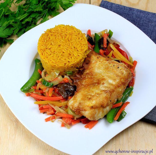 Qchenne-Inspiracje! Odchudzanie, dietoterapia, leczenie dietą: Aromatyczna, soczysta polędwica z dorsza w chrupiącym cieście ryżowym z sezamowymi warzywami i ryżem w stylu tajskim. Obiad bez nabiału, glutenu i jaj, nie tylko dla dzieci!