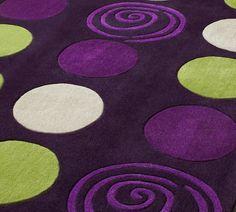 Purple Rugs Donnieann Shaggy Abstract Swirl Design 5 Ft | Green