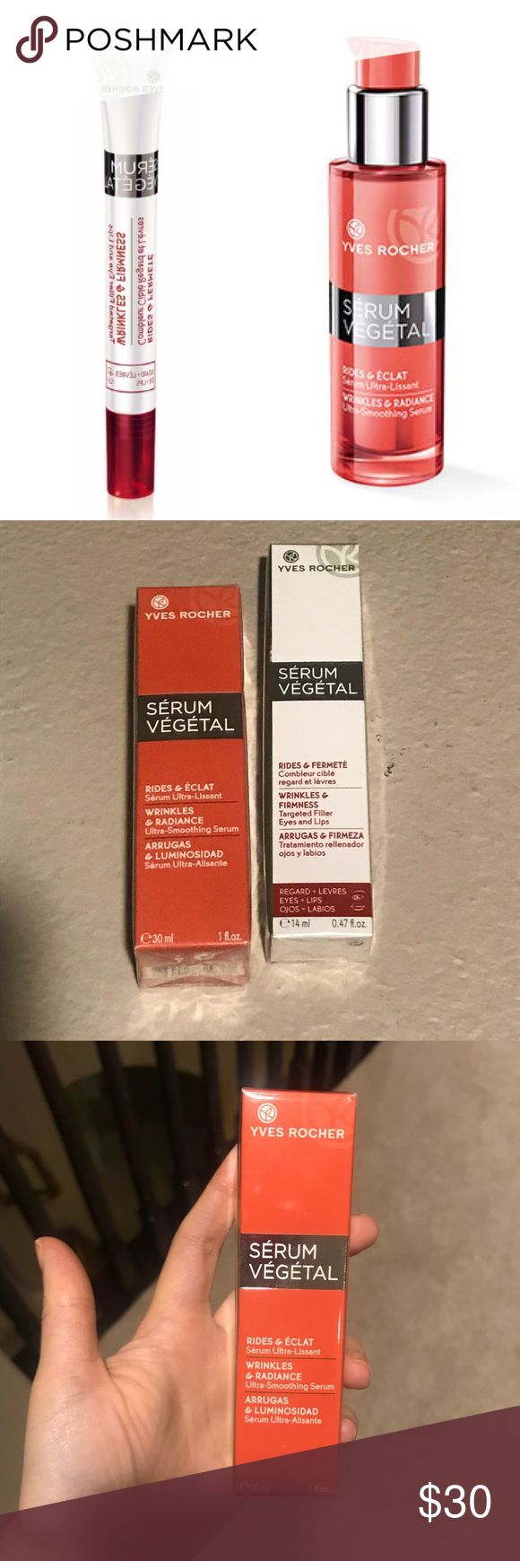 Yves Rocher Serum Vegetal Wrinkle Skincare Purchased online from Yves Rocher less than a year ago. NEVER USED!! Both products are sealed.   Price listed is for BOTH ITEMS!!   Products include:  - Serum Vegetal Wrinkles & Firmness Targeted Fuller for Eyes & Lips (0.47 fl. oz.)  - Serum Vegetal Wrinkles & Radiance Ultra Smoothing Serum (1 fl. oz.)   NO TRADES!! PRICE IS FAIR, FIRM & FINAL!! ALL OFFERS WILL BE DECLINED!! Yves Rocher Makeup