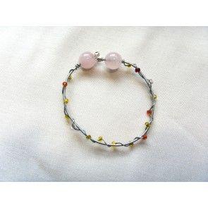 Wire wrapped bracelet w colored beads & rose quartz