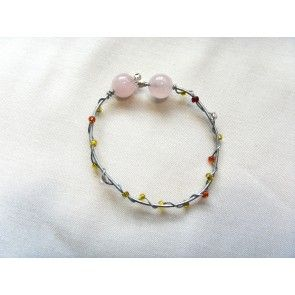 Wire wrapped bracelet w colored beads & rose quartz