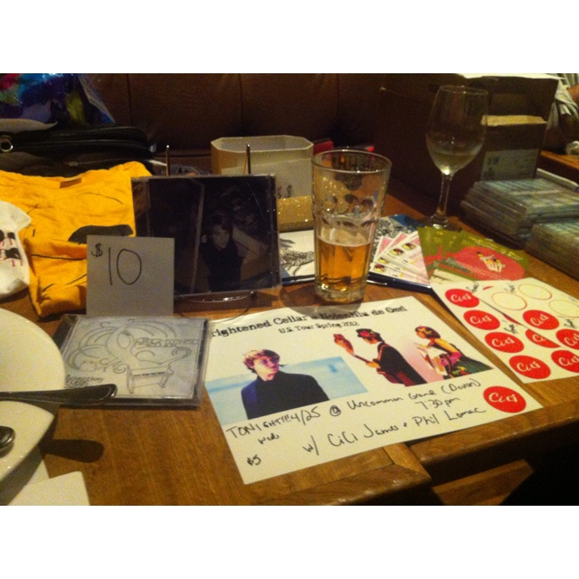 Merch table at Uncommon Ground in Chicago