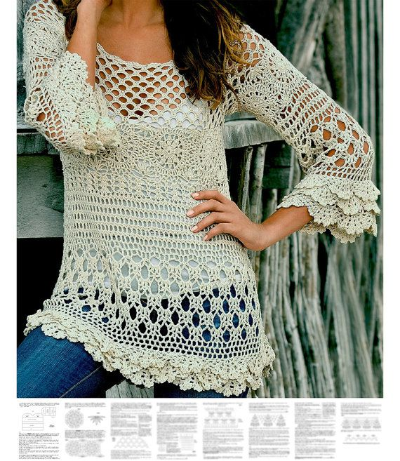 Crochet tunic PATTERN, detailed instructions in ENGLISH for every row, beach crochet tunic PATTERN pdf, designer crochet boho tunic pattern.