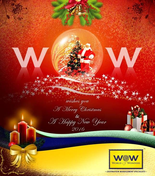 WOW Holidays - the best DMC in India wishes everyone a Merry Christmas and a Prosperous New Year 2016 !!  #wow #wownewyear #wow2016 #wowgreetings #wowchristmas #wowholidays #worldofwonders #bestdmcinindia #europedmc #usadmc #worldofwonderstravel #merrychristmas