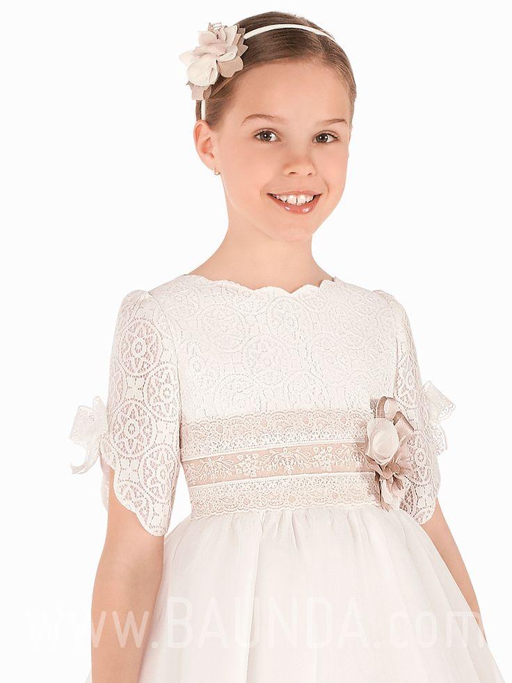 Vestido comunión cuello ondas 2019 Elisabeth modelo 418 Madrid y