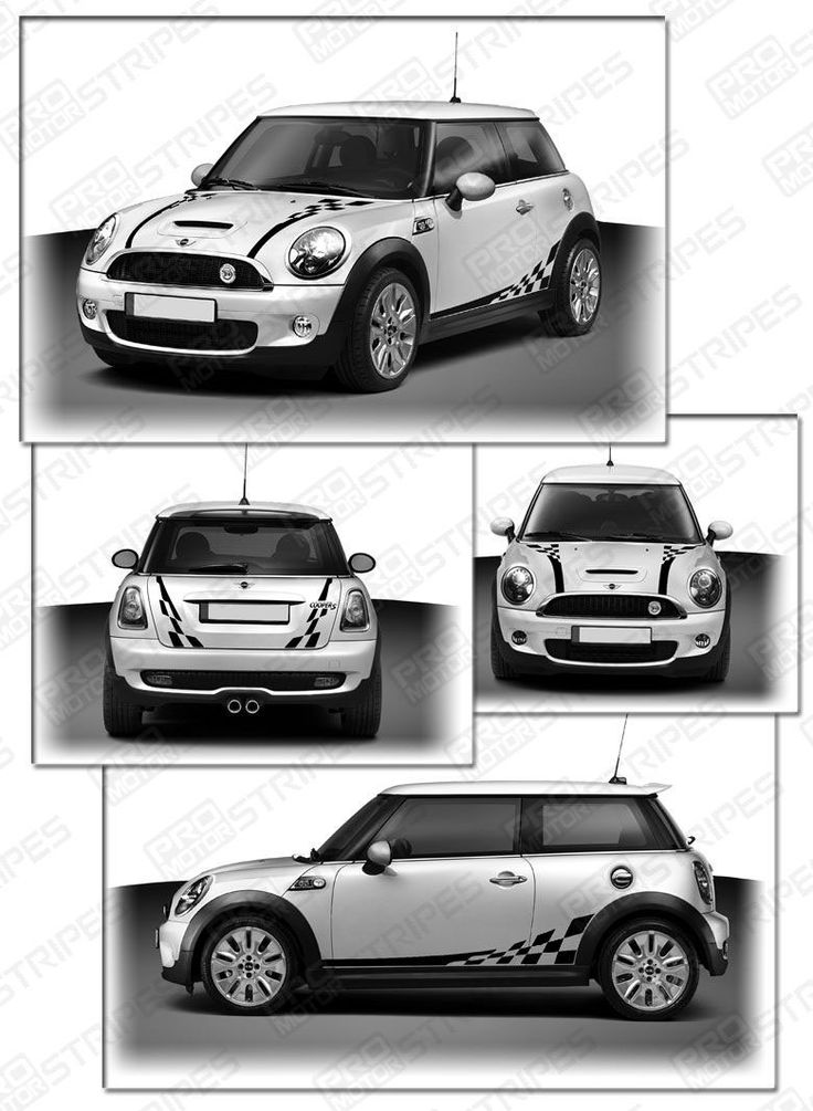 Bonnet Stripes Mini Cooper >> MINI Cooper Bonnet Checkered Hood Side Back Stripes Kit | Hoods, Minis and Cars