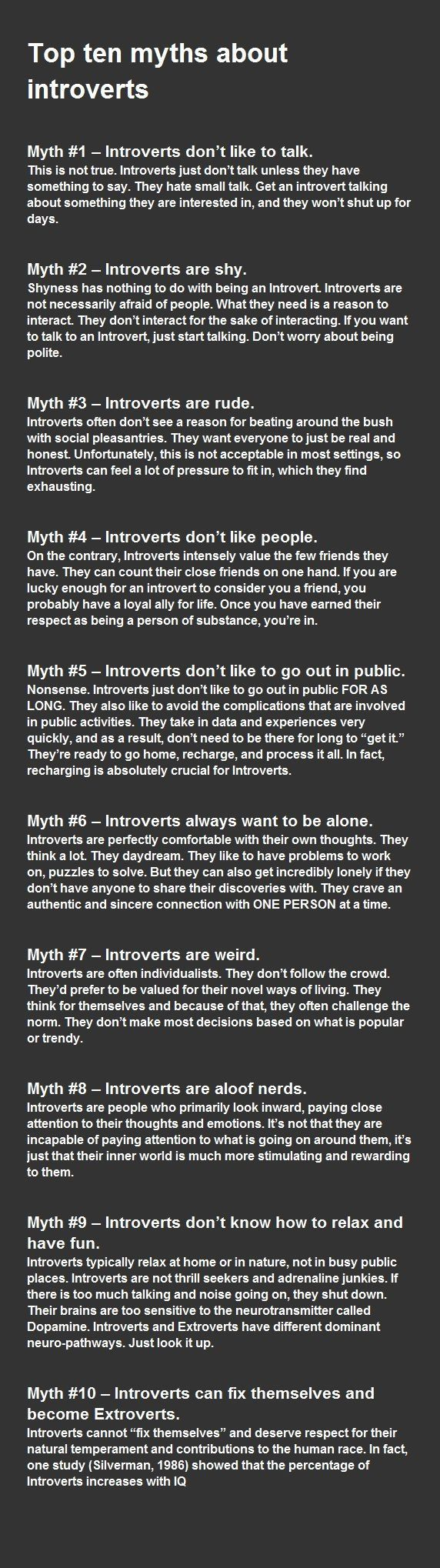 Introvert myths - #9 is certainly me! I Defo shut down where there's too much talking/noise. I need to be able to think and process