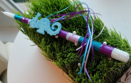 Seahorse Easter Candle - $12.00 Under the Sea Easter Candle at Greek Wedding Shop ~ http://www.greekweddingshop.com