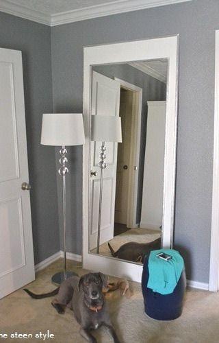 Diy full length mirror diy this pinterest grey - Full length bathroom wall mirror ...