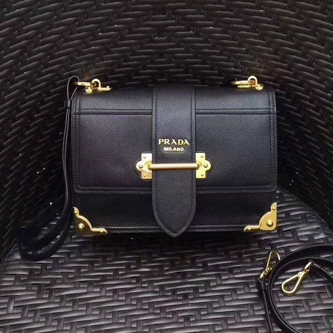 2c7fdeac4d03 Prada Cahier Leather Shoulder Bag 1BD095 Black 2018(Gold-tone Metal) Prada  Bag