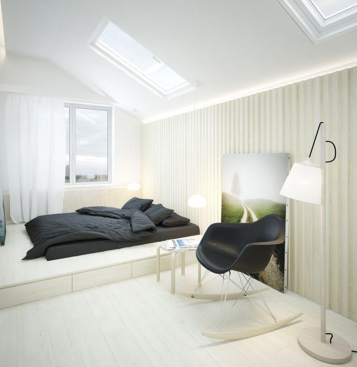 Если в спальне не хватает места для кровати, ее можно организовать на подиуме, пространство под которым использовать для хранения. В отделке стен использован прием обрешетки доской под углом. Больше о интересных интерьерных решениях на нашем сайте -http://linestudio.com.ua/ru/projects/?category=interior-design #дизайнинтерьера,#дизайнинтерьераквартир,#дизайнинтерьерадомов,#дизайнинтерьераминимализм,#дизайнинтерьералофт,#минимализм,#современныйдизайнинтерьера,#лофт