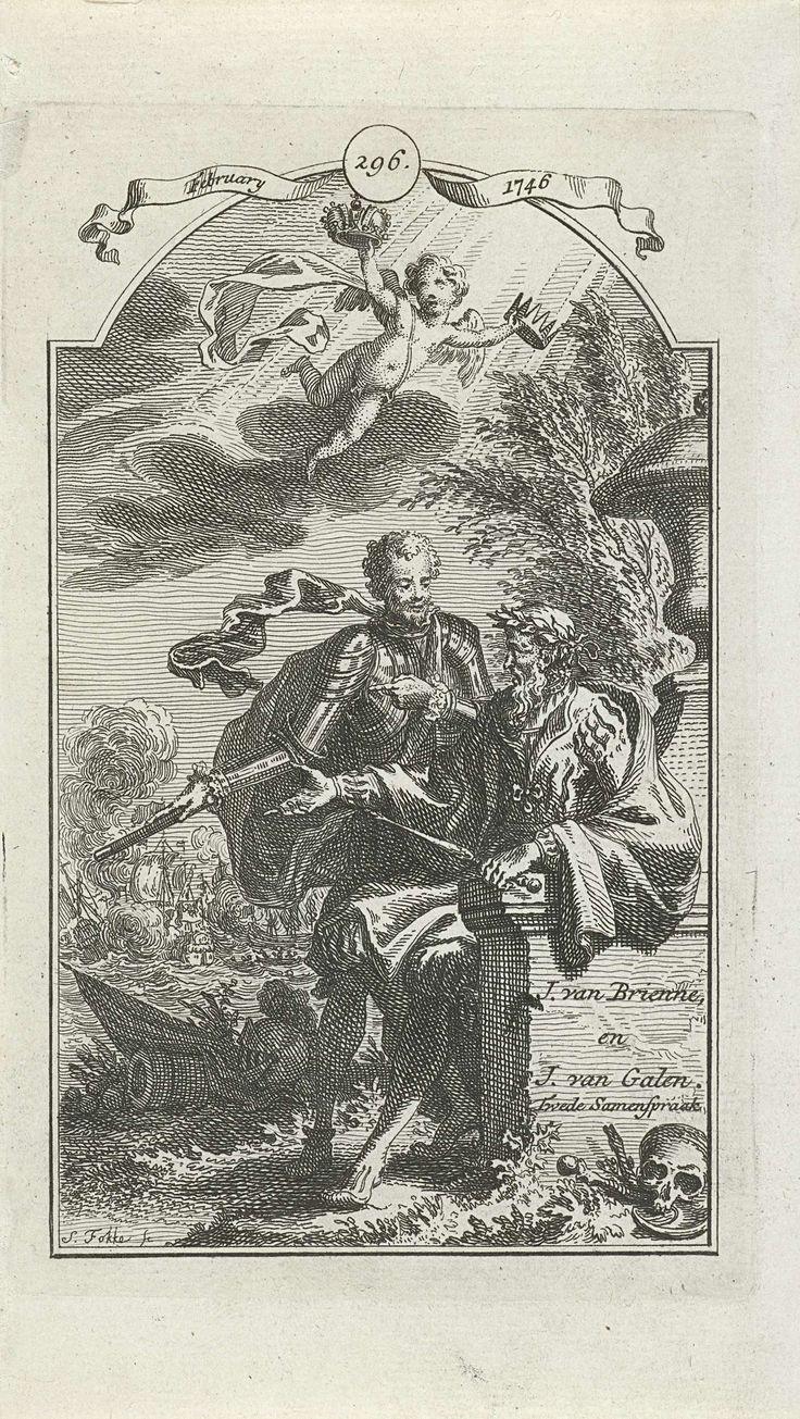 Simon Fokke | Twee historische figuren in gesprek, Simon Fokke, 1722 - 1784 | Jan van Brienne (met laurierkrans op het hoofd) en Johan van Galen in de buitenlucht in gesprek. Hierboven vliegt een putto met twee kronen in de hand. Op de achtergrond is een zeeslag afgebeeld. Boven de afbeelding de datum februari 1746 met het nummer 296.