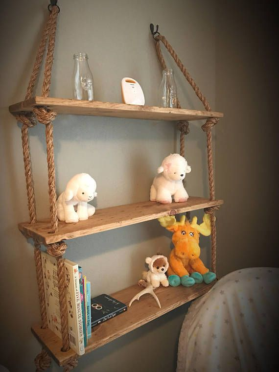 distressed wood large hanging shelves wall