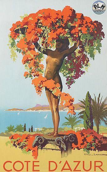 PLM - illustration de JULIEN LACAZE - CÔTE D'AZUR - 1935 - France -
