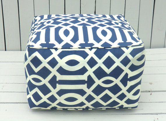 Blue Outdoor Pouf Square Ottoman Bean Bag Chair Blue