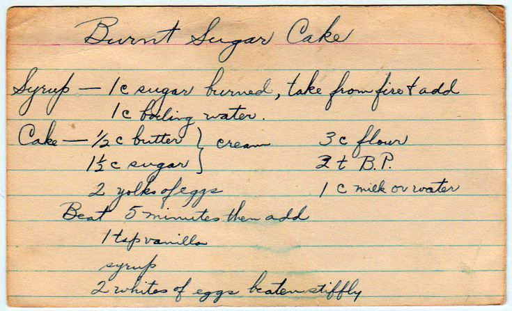 Burnt Sugar Cake...could try this recipe, too.  Looks simpler than others I've seen.