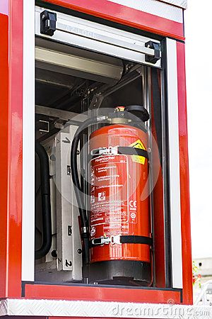 Fire extinguisher of a Fire engine truck on a firefighting show in Austria, Eisenstadt.