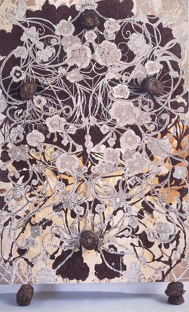Chris Ofili Homage 1993-95 oil paint, acrylic paint, polyester resin, map pins & elephant dung on linen 183 x 122 cm