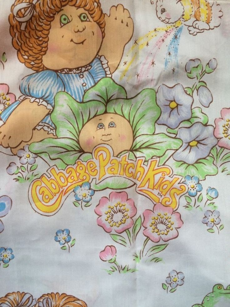 Vintage Cabbage Patch Kids Twin Bedding Set Fitted, Flat Sheet 1983
