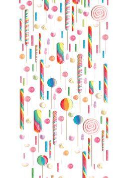 Behang met ontelbaar veel kleurrijke lollies voor de kinderkamer.