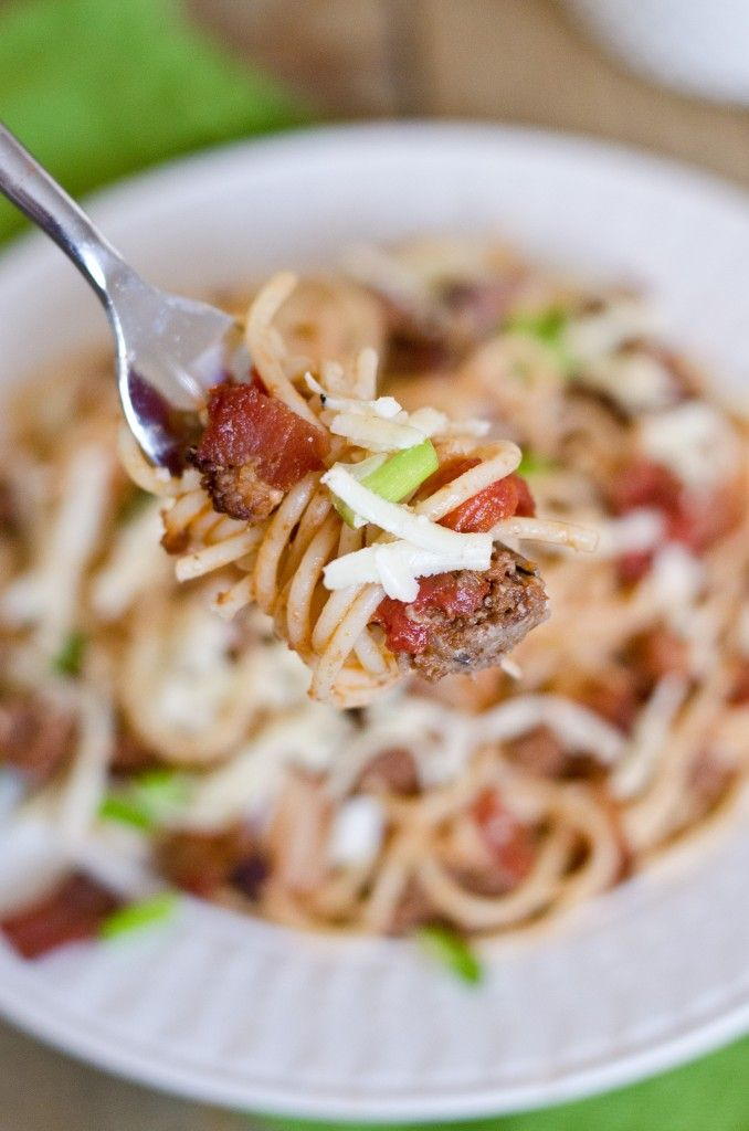 Cowboy Spaghetti - with bacon & a kick of hot sauce