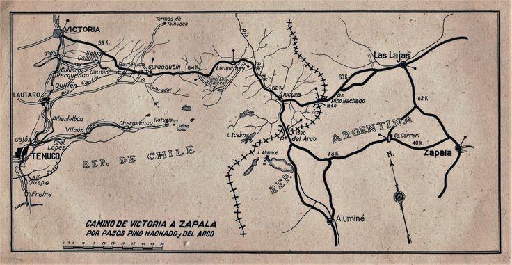 Camino de Victoria a Zapala por pasos Pino Hachado y del Arco. Automovil Club de Chile  ca.1950