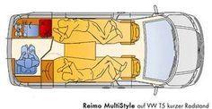 Grundriss Reimo MultiStyle auf VW T5 kurzer Radstand